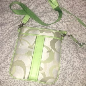 Green and Cream Satchel Bag
